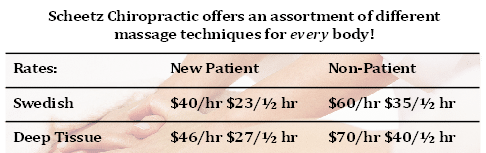 Chiropractic Monee IL massage prices